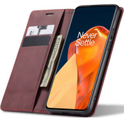 OPPRO OnePlus 9 Wallet Hoesje Vintage Leder Rood