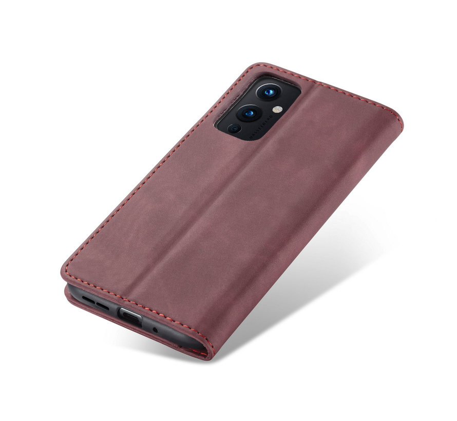 OnePlus 9 Wallet Hoesje Vintage Leder Rood