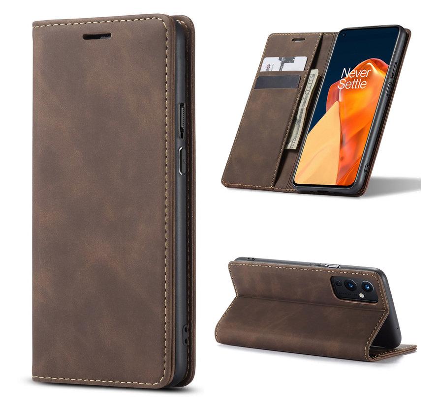 OnePlus 9 Wallet Hoesje Vintage Leder Bruin
