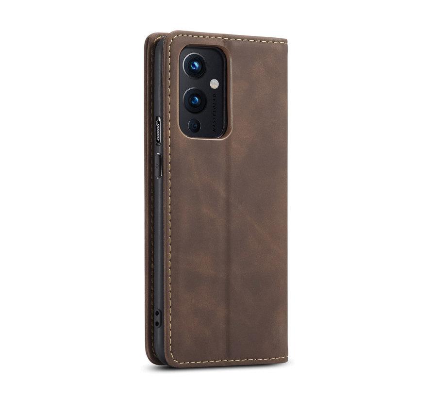 OnePlus 9 Brieftasche Vintage Leder Braun