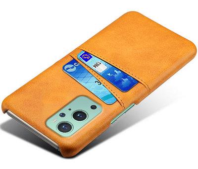 OPPRO OnePlus 9 Case Kartenhalter aus schmalem Leder Cognac
