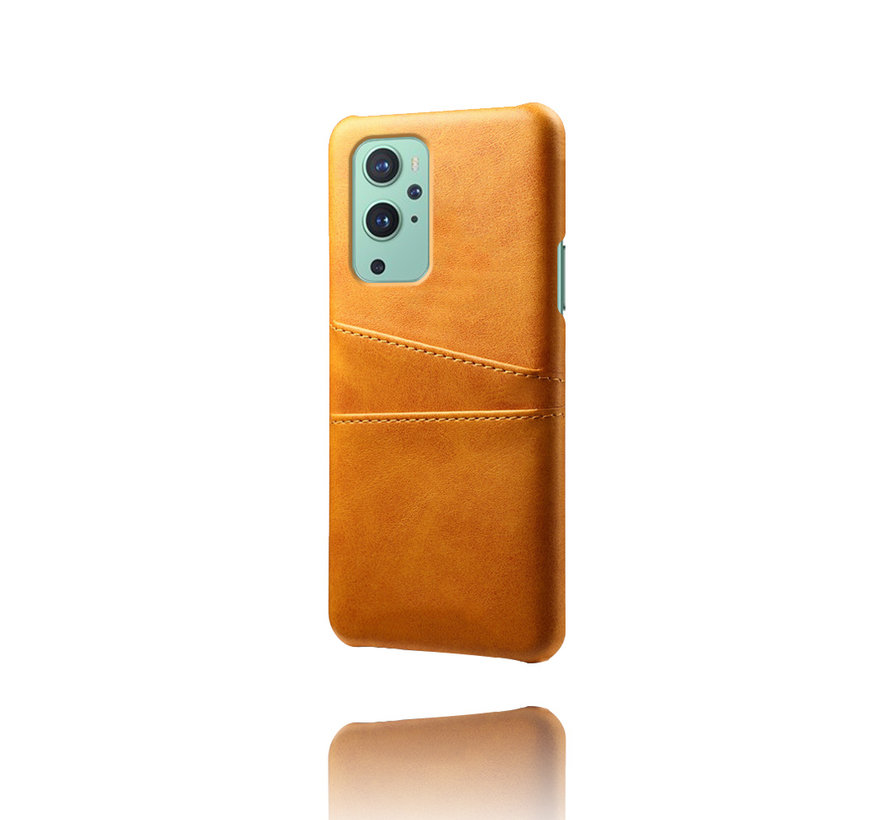 OnePlus 9 Case Kartenhalter aus schmalem Leder Cognac