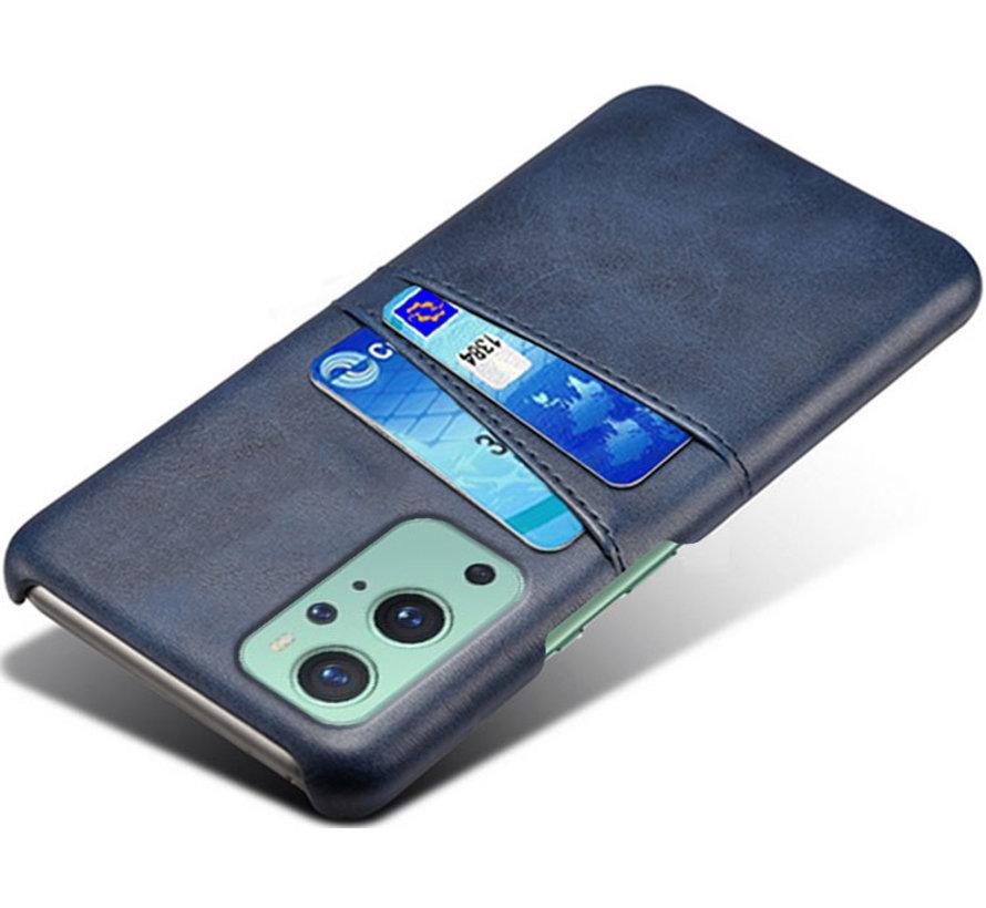 OnePlus 9 Hoesje Slim Leder Kaarthouder Blauw