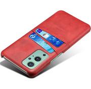 OPPRO OnePlus 9 Case Slim Leder Kartenhalter Rot