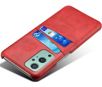 OPPRO OnePlus 9 Hoesje Slim Leder Kaarthouder Rood
