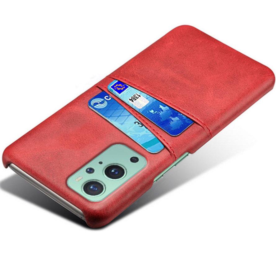 OnePlus 9 Hoesje Slim Leder Kaarthouder Rood