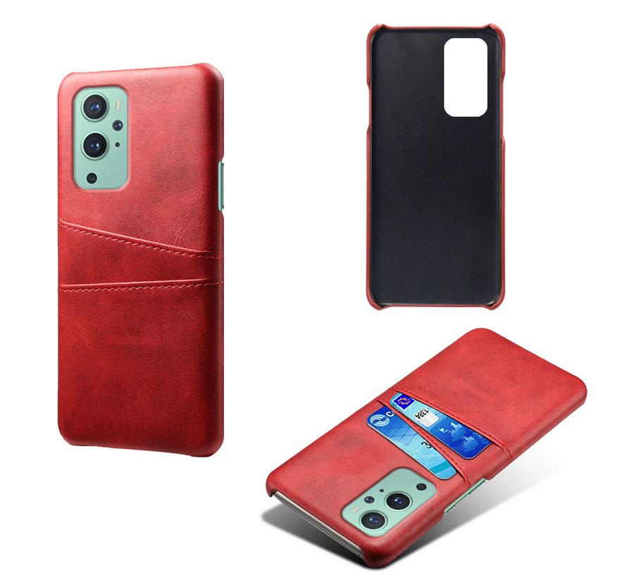 OnePlus 9 Case Slim Leder Kartenhalter Rot