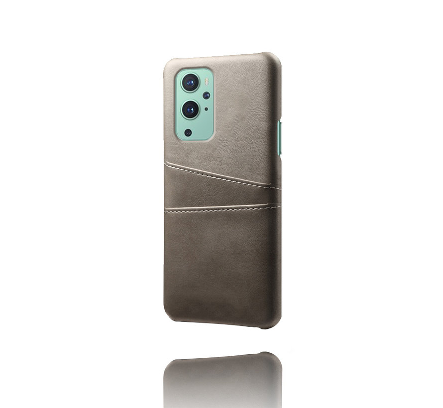 OnePlus 9 Case Kartenhalter aus schmalem Leder Grau