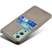 OPPRO OnePlus 9 Hoesje Slim Leder Kaarthouder Grijs