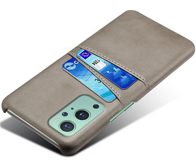 OPPRO OnePlus 9 Case Kartenhalter aus schmalem Leder Grau