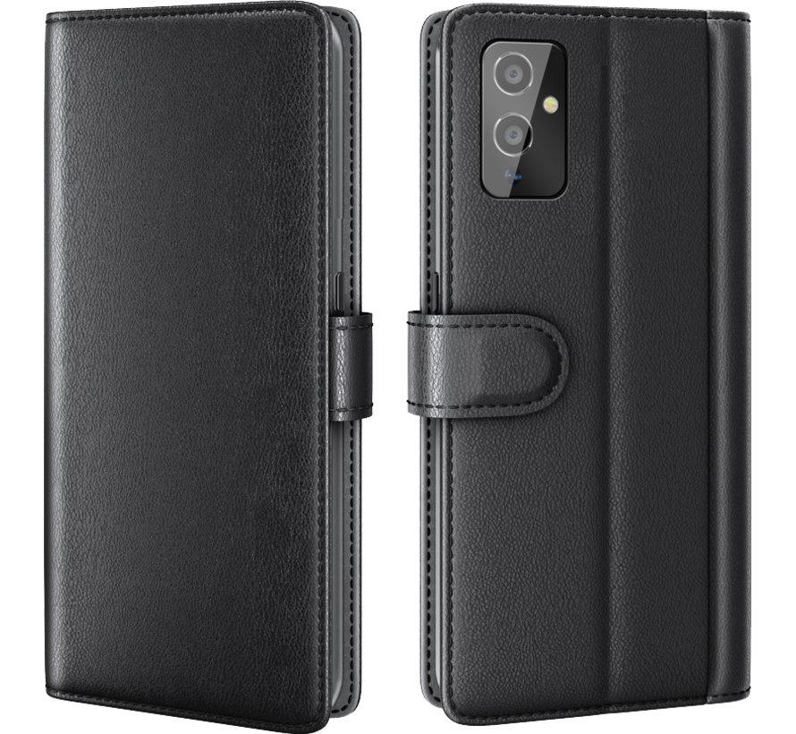 OnePlus 9 Wallet Hoesje Echt Leder Zwart