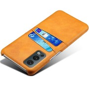 OPPRO OnePlus Nord 2 Case Slim Leather Card Holder Cognac