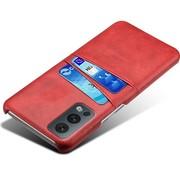 OPPRO OnePlus Nord 2 Hoesje Slim Leder Kaarthouder Rood