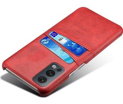 OPPRO OnePlus Nord 2 Case Slim Leder Kartenhalter Rot