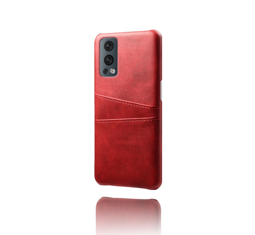 OnePlus Nord 2 Hoesje Slim Leder Kaarthouder Rood