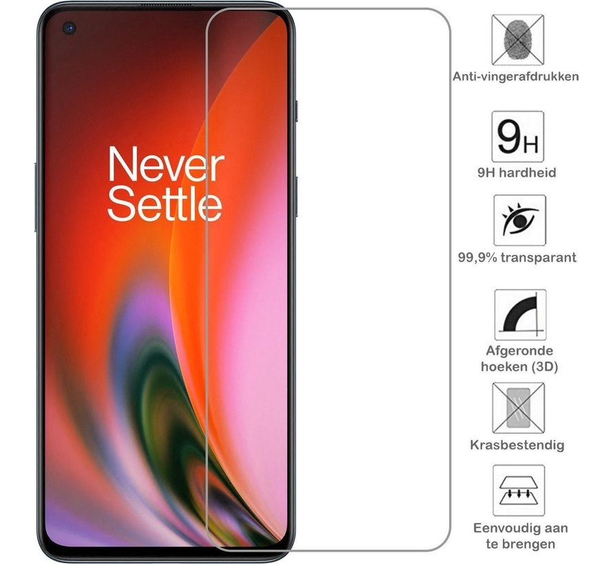 OnePlus Nord 2 Glazen Screen Protector 9H+ 2.5d (2 st.)