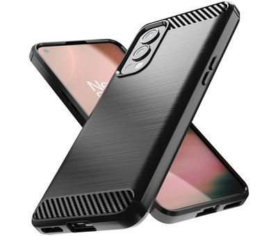 OPPRO OnePlus Nord 2 Hoesje Brushed Carbon Zwart