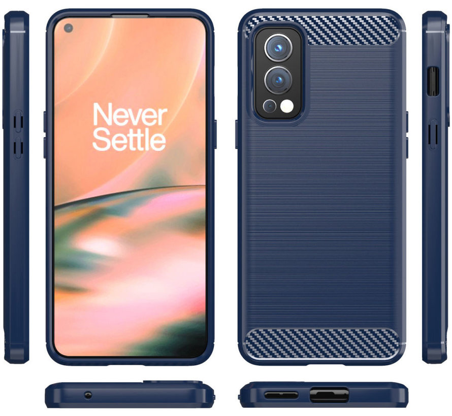OnePlus Nord 2 Hoesje Brushed Carbon Blauw