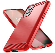 OPPRO OnePlus Nord 2 Hoesje Brushed Carbon Rood