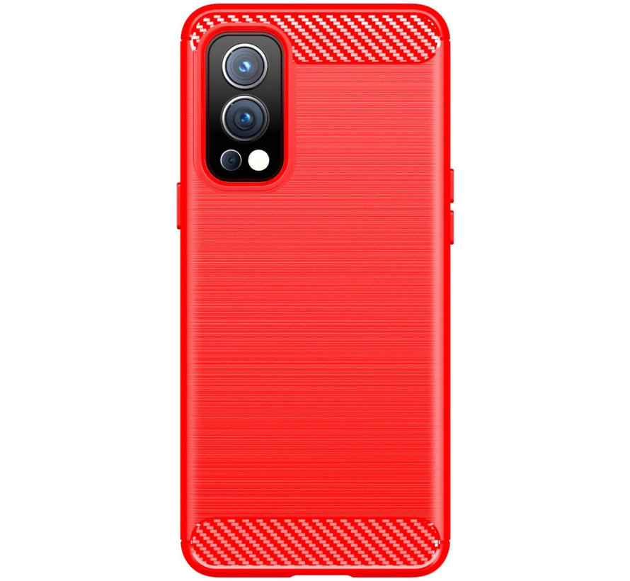 OnePlus Nord 2 Hoesje Brushed Carbon Rood