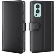 OPPRO OnePlus Nord 2 Wallet Case Echtleder Schwarz