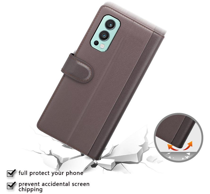OnePlus Nord 2 Wallet Hoesje Echt Leder Zwart