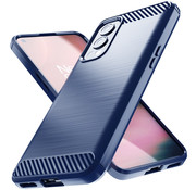 OPPRO OnePlus Nord 2 Hoesje Brushed Carbon Blauw