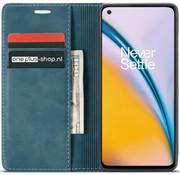 OPPRO OnePlus Nord 2 Brieftasche Vintage Leder Blau