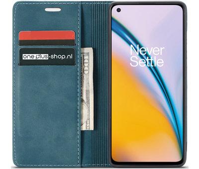 OPPRO OnePlus Nord 2 Wallet Hoesje Vintage Leder Blauw