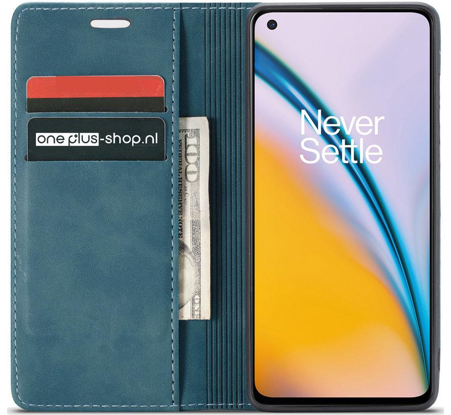 OnePlus Nord 2 Wallet Hoesje Vintage Leder Blauw