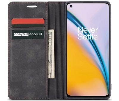 OPPRO OnePlus Nord 2 Wallet Hoesje Vintage Leder Zwart