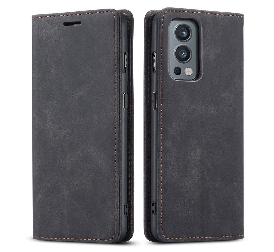 OnePlus Nord 2 Brieftasche Vintage Leder Schwarz
