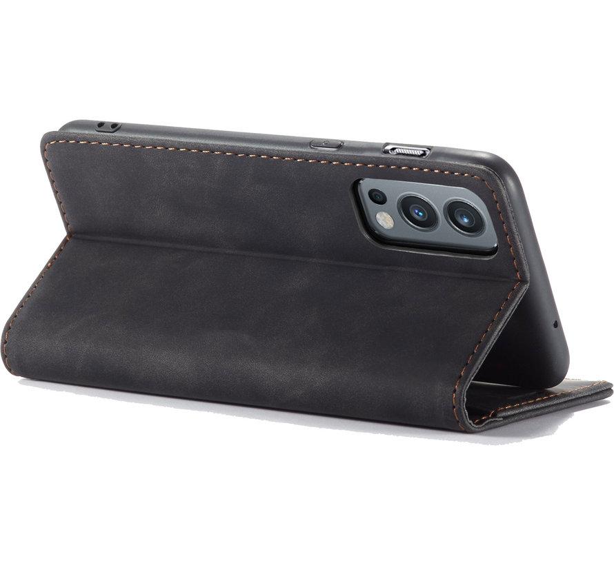OnePlus Nord 2 Wallet Hoesje Vintage Leder Zwart