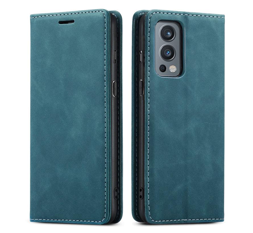 OnePlus Nord 2 Brieftasche Vintage Leder Blau