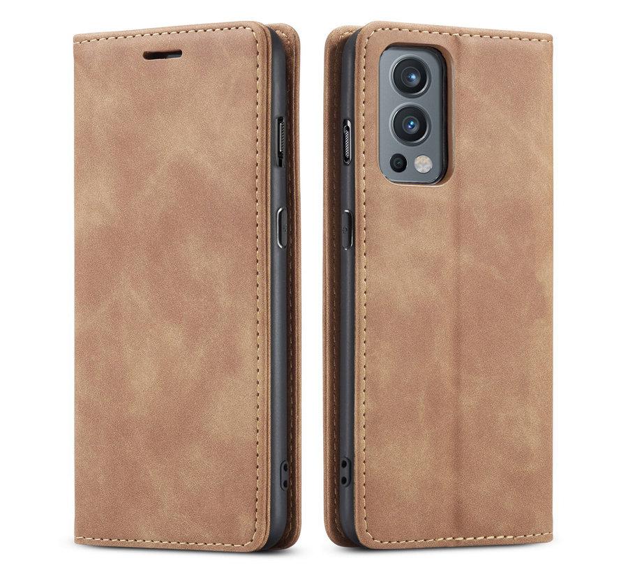 OnePlus Nord 2 Wallet Hoesje Vintage Leder Beige