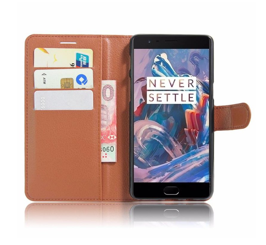 Brieftasche Flip Case Braun OnePlus 3 / 3T