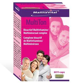 MANNAVITAL NATURAL PRODUCTS MULTITON COMPLEXE BIOACTIF DE MULTIVITAMINES & MULTIMINÉRAUX (60 V-CAPS)