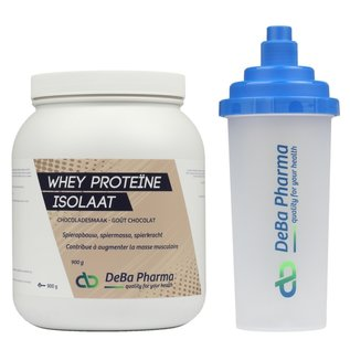 DEBA PHARMA HEALTH PRODUCTS WHEY PROTEINE ISOLAAT CHOCOLADE (900 G) + SHAKER