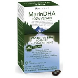 MINAMI NUTRITION OMEGA 3 MINAMI MARINDHA 100% VEGAN FORMULE 75% DHA + ASTAXANTHINE (60 SOFTGELS)