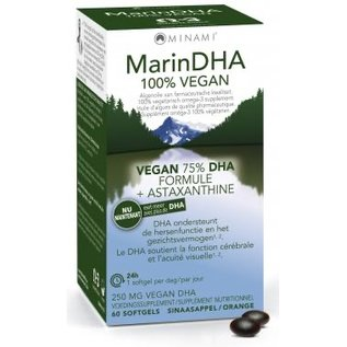 MINAMI NUTRITION OMEGA 3 MINAMI MARINDHA 100% VEGAN 75% DHA FORMULE + ASTAXANTHINE (60 SOFTGELS)