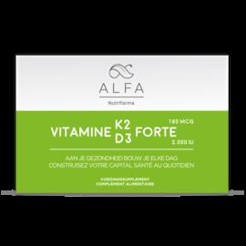ALFA BY NUTRIFARMA NUTRICEUTICALS ALFA VITAMINE K2 & D3 FORTE - BOTTEN, HART & BLOEDVATEN (60 SOFTGELS)