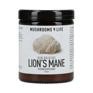 MUSHROOMS 4 LIFE LION'S MANE BIOLOGISCH PADDENSTOELENSUPPLEMENT POEDER (60 G)