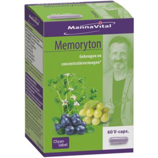 MANNAVITAL NATURAL PRODUCTS MEMORYTON GEHEUGEN EN CONCENTRATIE (60 V-CAPS)