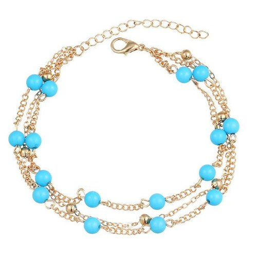 Beads enkelbandje goud