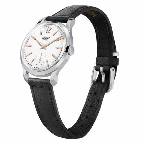 Henry London HL30-US-0001 - Horloge - Leer - Zwart - Ø 30 mm
