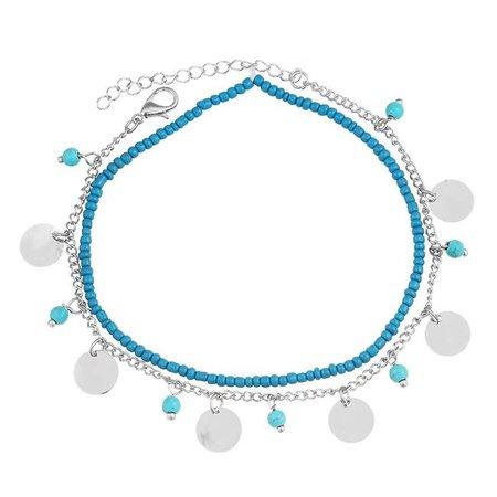Beads & coins enkelbandje zilver