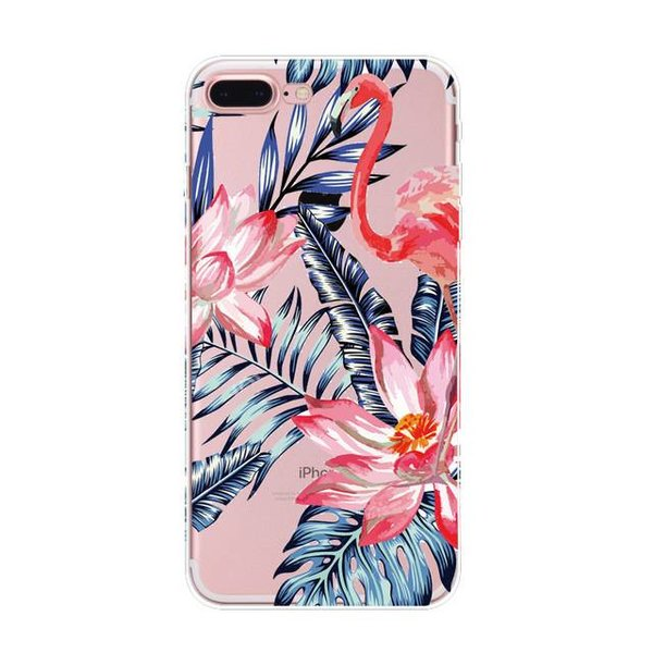 Flamingo & flowers iPhone hoesje