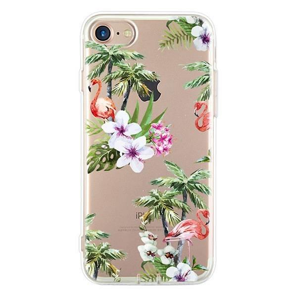Palm trees, flowers & flamingos iPhone hoesje