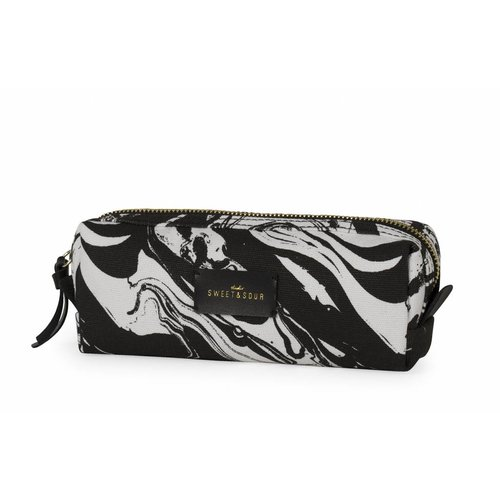 Studio Sweet & Sour  Make-up bag square small / black marble