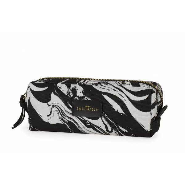 Make-up bag square small / black marble
